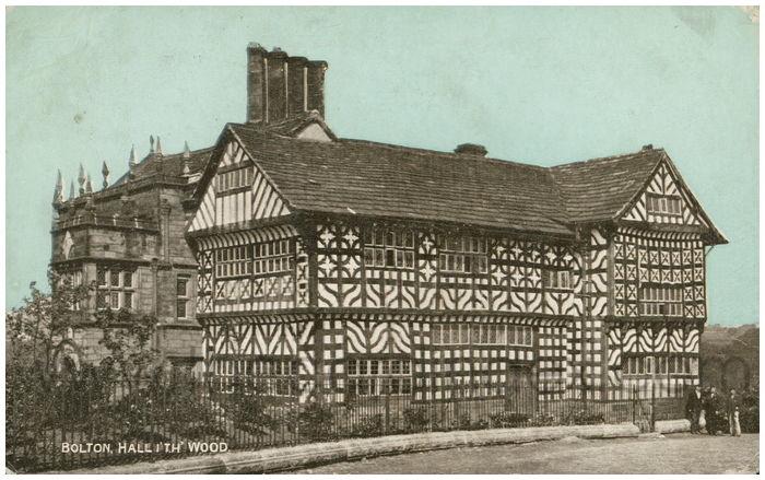 Postcard front: Bolton, Hall I' Th' Wood