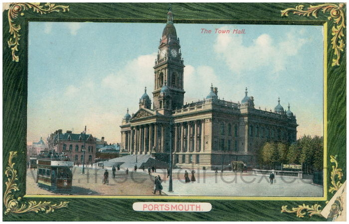 Postcard front: The Town Hall. Portsmouth.