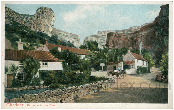 Postcard front: Cheddar. Entrance to the Pass.