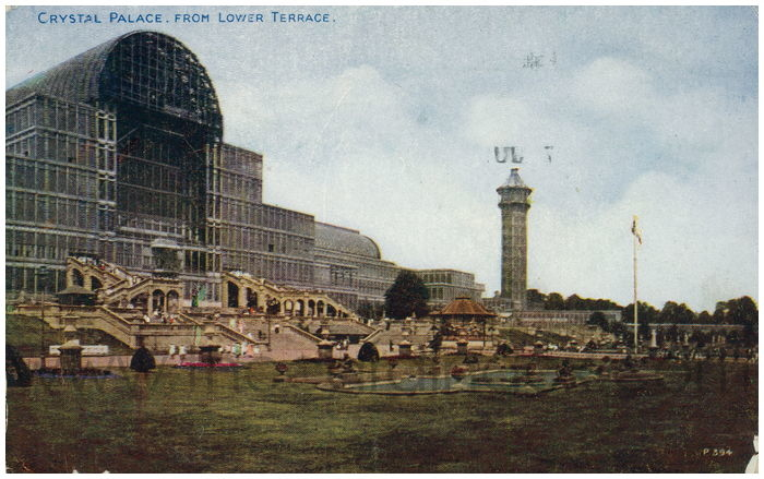 Postcard front: Crystal Palace. From Lower Terrace.
