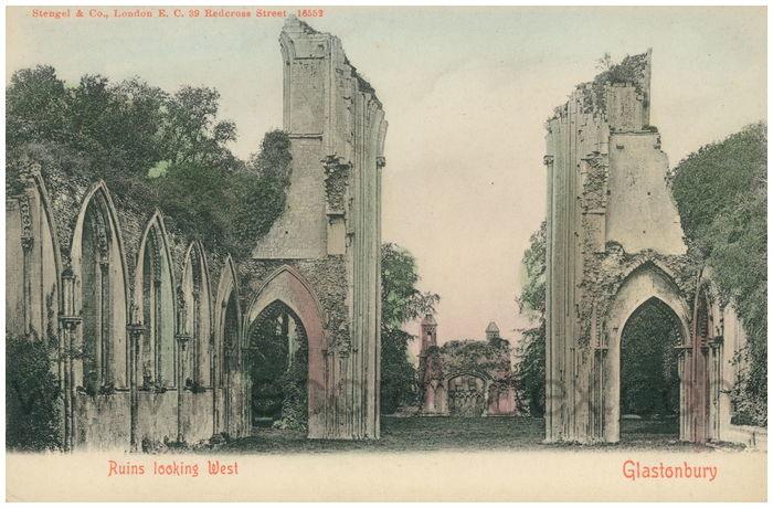 Postcard front: Ruins Looking West, Glastonbury.