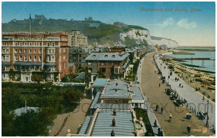 Postcard front: Promenade and Castle, Dover