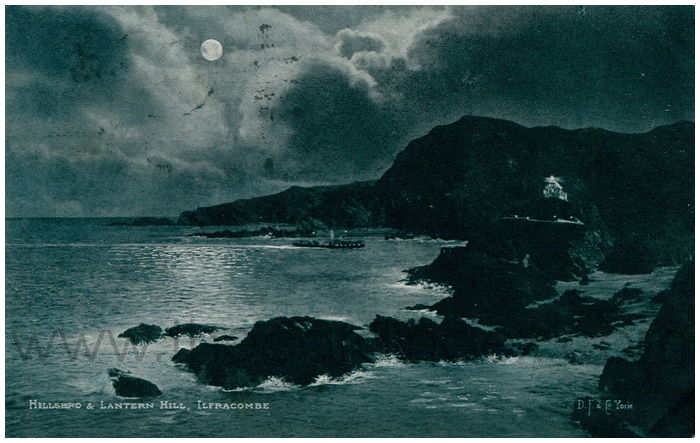 Postcard front: Hillend & Lantern Hill, Ilfracombe.