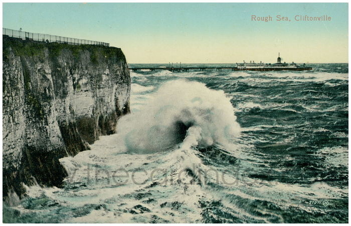 Postcard front: Rough Sea and Fort Cliff, Cliftonville.