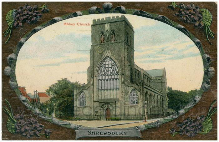 Postcard front: Abbey Church. Shrewsbury