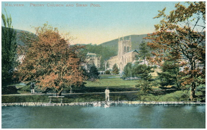 Postcard front: Malvern. Priory Church and Swan Pool.