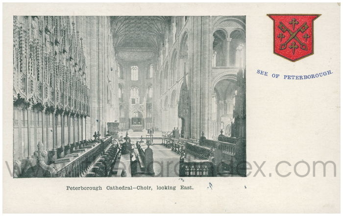 Postcard front: Peterborough Cathedral - Choir, looking East.