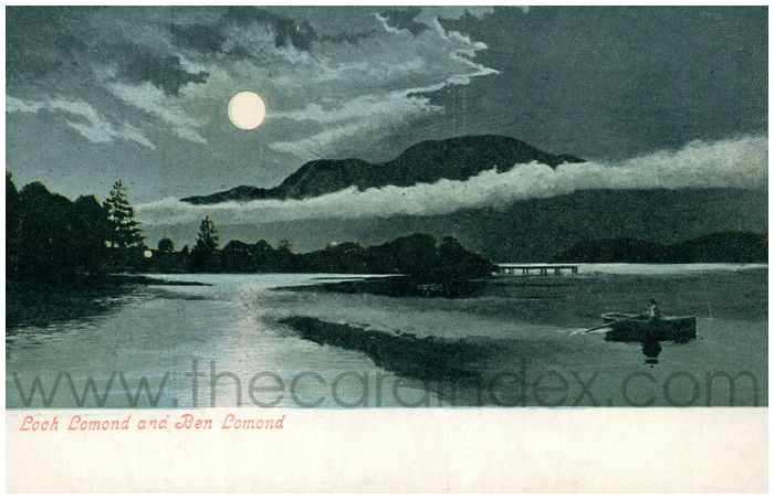 Postcard front: Loch Lomand and Ben Lomand.