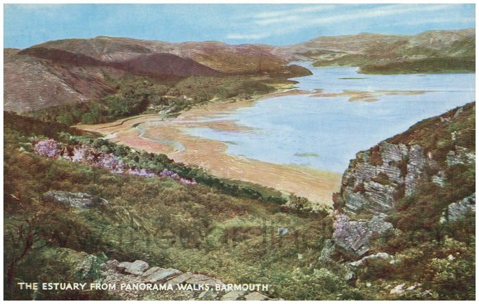 Postcard front: The Estuary from Panorama Walks, Barmouth.