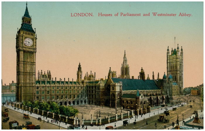 Postcard front: London. Houses of Parliament and Westminster Abbey