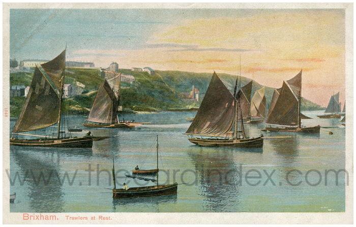 Postcard front: Brixham. Trawlers at Rest.