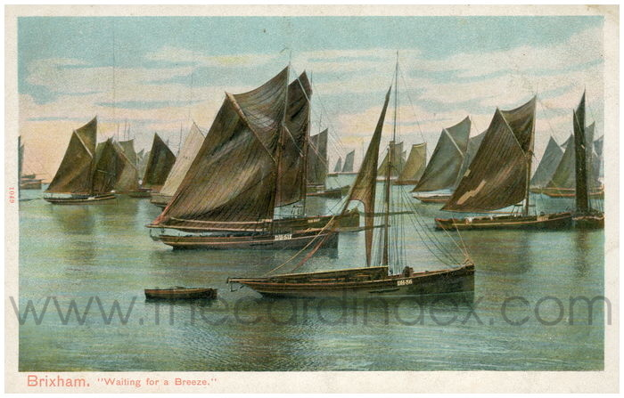 Postcard front: Brixham. Waiting for a Breeze