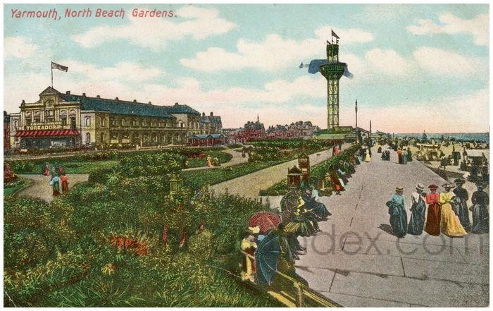 Postcard front: Yarmouth, North Beach Gardens.