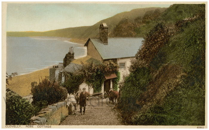 Postcard front: Clovelly, Rose Cottage.