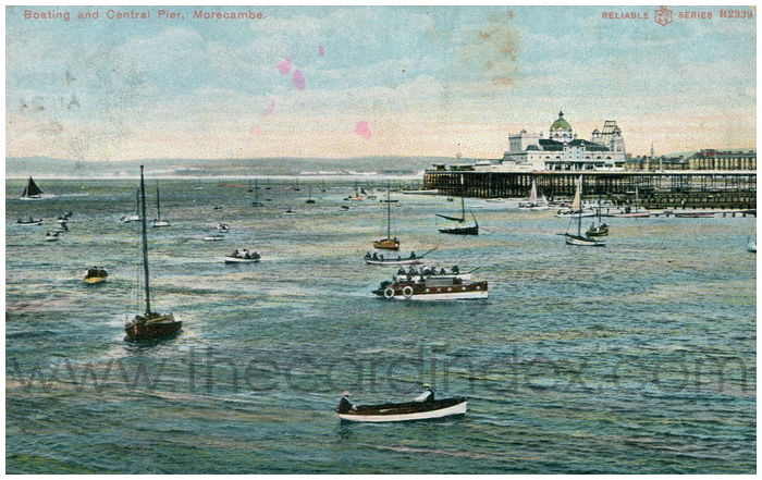 Postcard front: Boating and Central Pier, Morecambe.