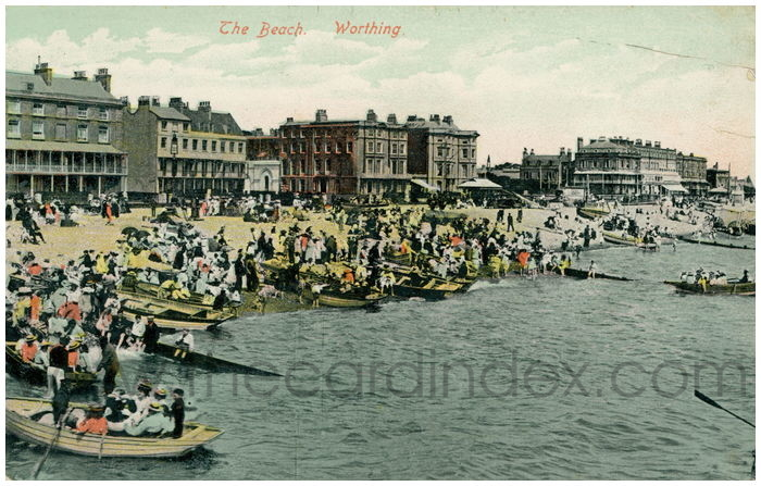 Postcard front: The Beach. Worthing