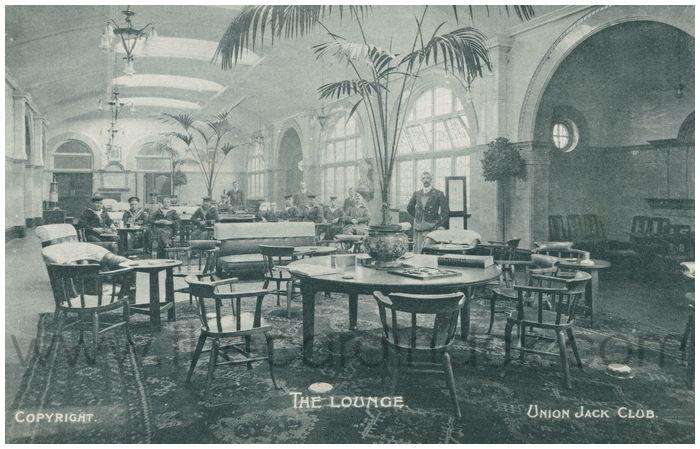 Postcard front: The Lounge. Union Jack Club.