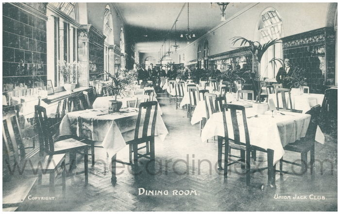 Postcard front: Dining Room. Union Jack Club.