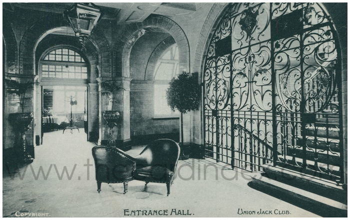 Postcard front: Entrance Hall. Union Jack Club