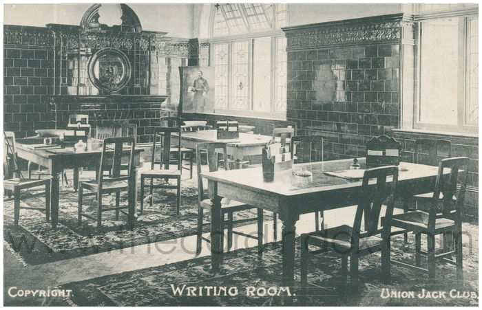 Postcard front: Writing Room. Union Jack Club.