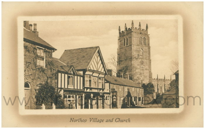 Postcard front: Northop Village and Church