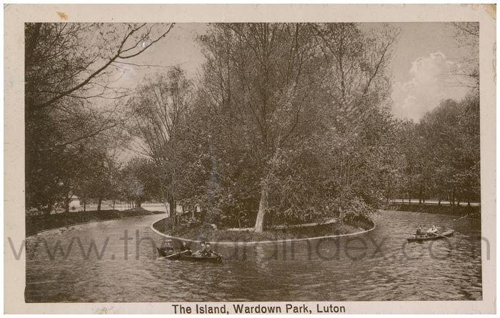 Postcard front: The Island, Wardown Park, Luton