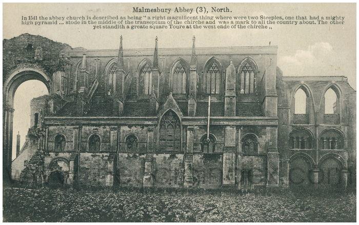 Postcard front: Malmesbury Abbey (3), North.