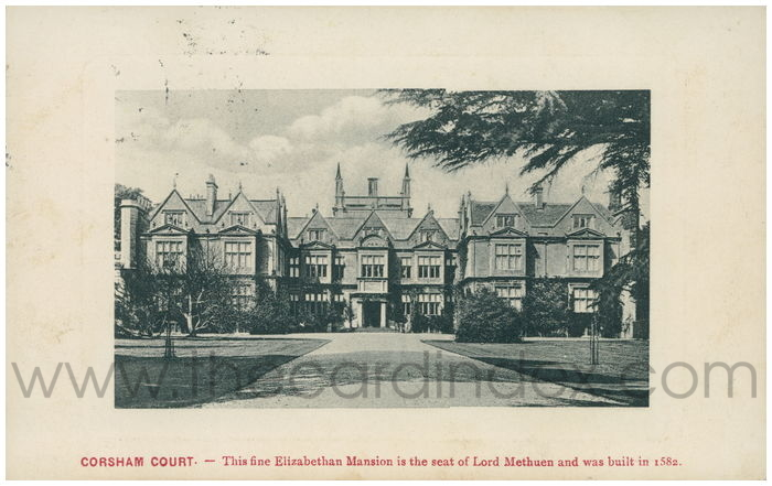 Postcard front: CORSHAM COURT. - This fine Elizabethan Mansion is the seat of Lord Methuen and was built in 1582.