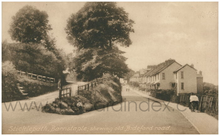 Postcard front: Sticklepath, Barnstaple; shewing old Bideford road