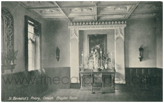 Postcard front: St. Benedict's Priory, Colwich. Chapter Room