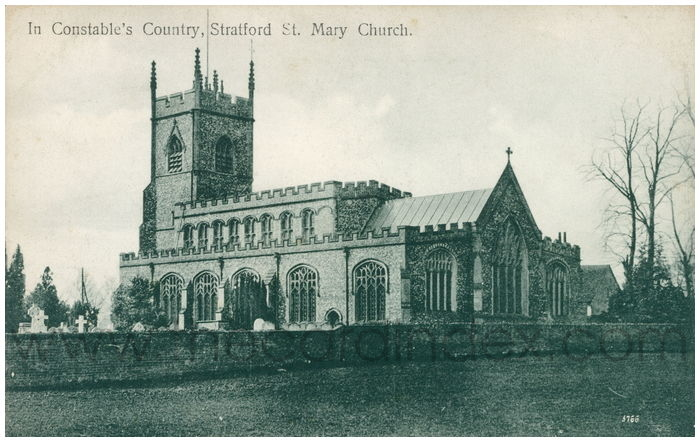 Postcard front: In Constable's Country, Stratford St. Mary Church.