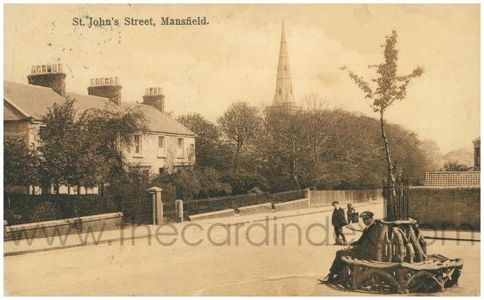 Postcard front: St. John's Street, Mansfield.