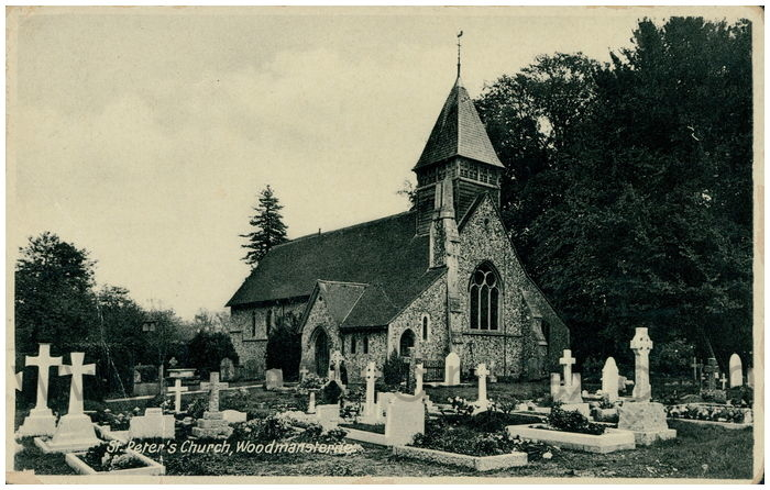 Postcard front: St. Peter's Church, Woodmansterne