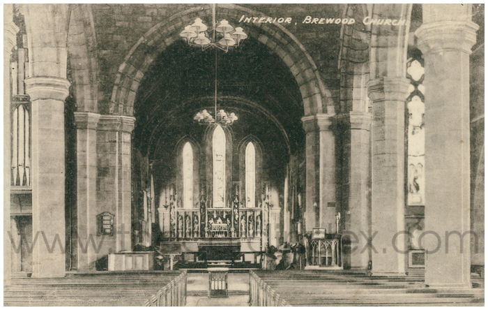 Postcard front: Interior, Brewood Church