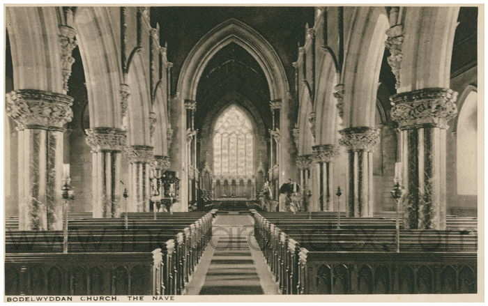 Postcard front: Bodelwyddan Church The Nave
