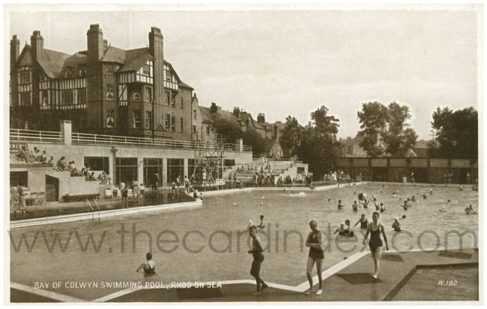 Postcard front: Bay of Colwyn Swimming Pool, Rhos-on-Sea