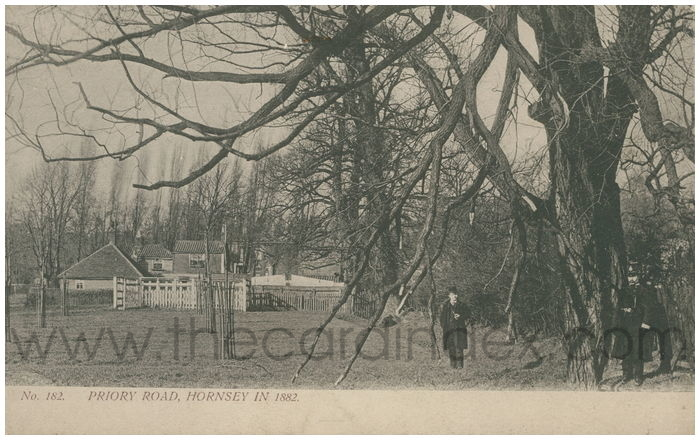 Postcard front: Priory Road, Hornsey In 1882.