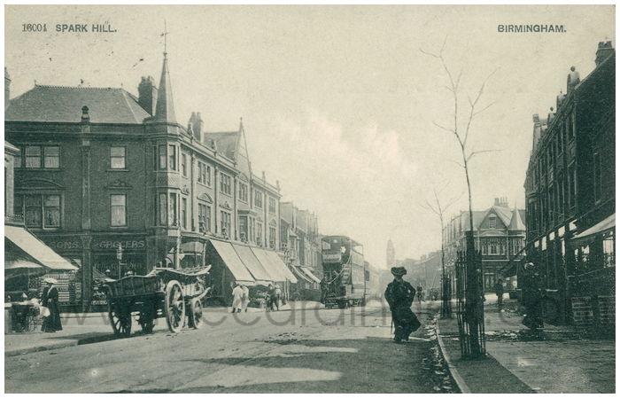 Postcard front: Spark Hill. Birmingham.
