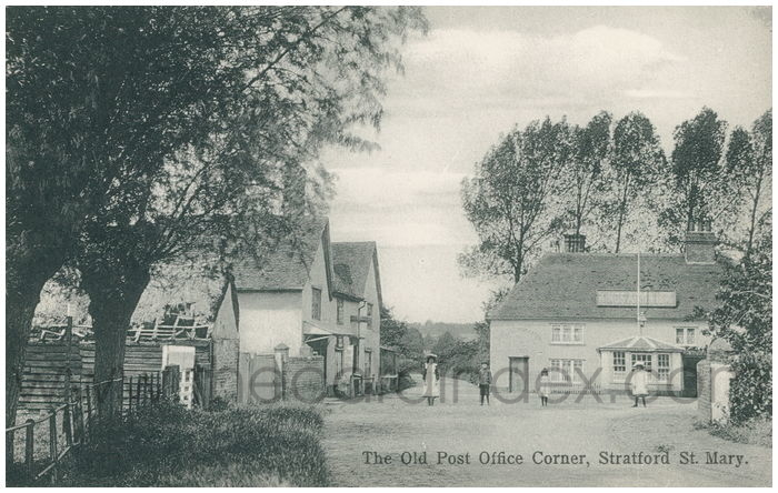 Postcard front: The Old Post Office Corner, Stratford St. Mary.