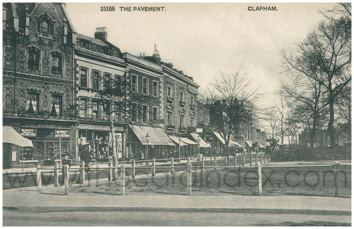 Postcard front: The Pavement. Clapham.