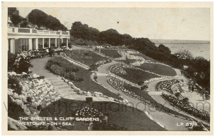 Postcard front: The Shelter & Cliff Gardens, Westcliff-on-Sea.