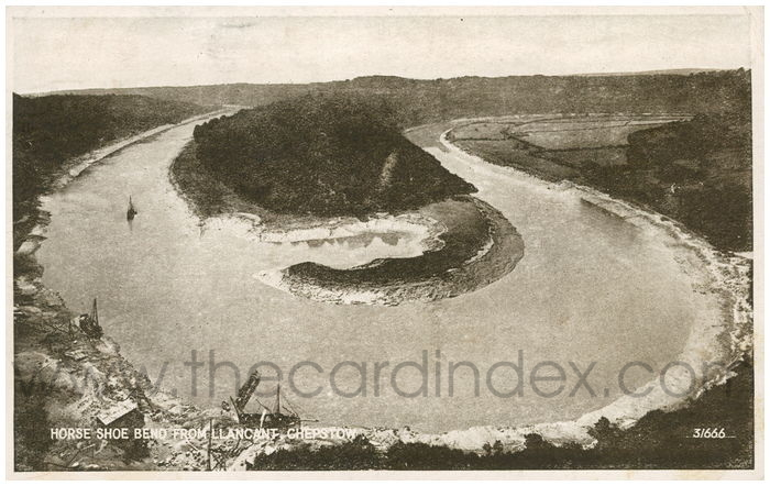 Postcard front: Horse Shoe Bend from Llancant Chepstow