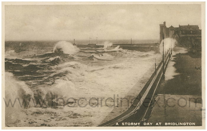 Postcard front: A Stormy Day at Bridlington