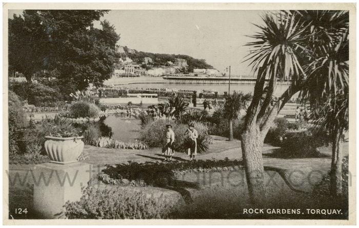 Postcard front: Rock Gardens, Torquay
