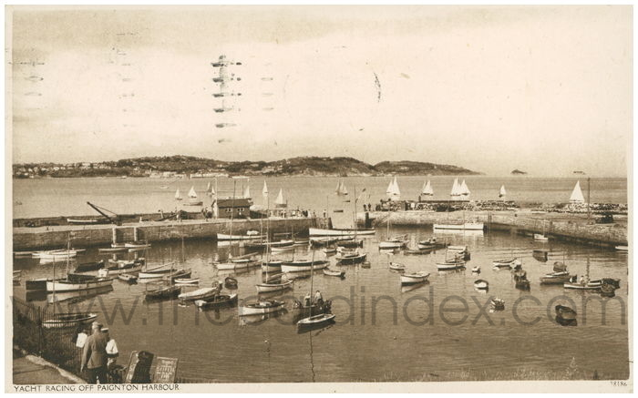 Postcard front: Yacht Racing off Paignton Harbour