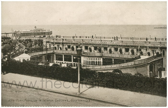 Postcard front: Fort Pavilion & Winter Gardens, Cliftonville.