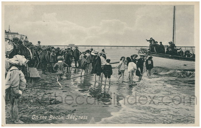 Postcard front: On the Beach, Skegness.