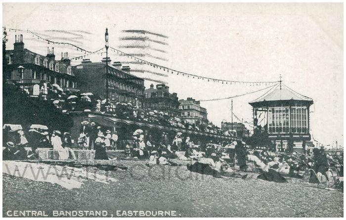 Postcard front: Central Bandstand, Eastbourne.