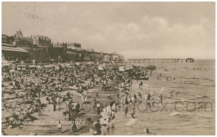 Postcard front: The Sands, Ramsgate.