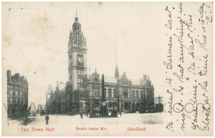 Postcard front: The Town Hall. Sheffield.